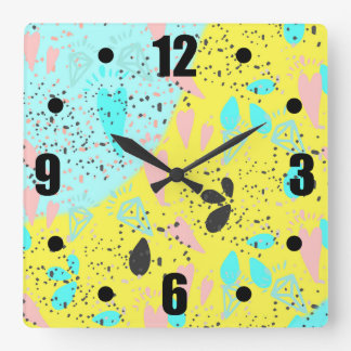 Candy Pastels Pop Art Pattern Square Wall Clock