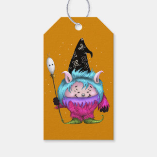 CANDY PET 1 HALLOWEEN MONSTER PINK GIFT TAG