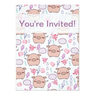 Candy Piggies Pattern 14 Cm X 19 Cm Invitation Card