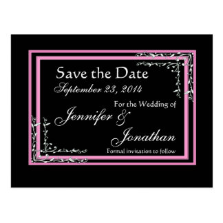 Candy Pink & Black Scroll Save Date Wedding Postcard