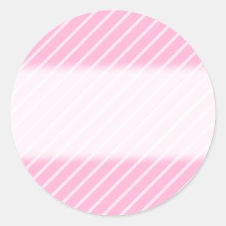 Candy Pink Diagonal Striped Pattern. Classic Round Sticker