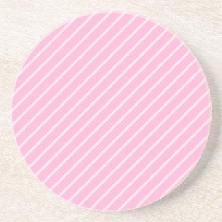 Candy Pink Diagonal Striped Pattern. Beverage Coaster