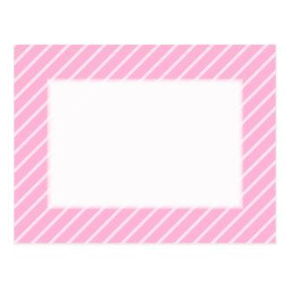 Candy Pink Diagonal Striped Pattern. Postcard