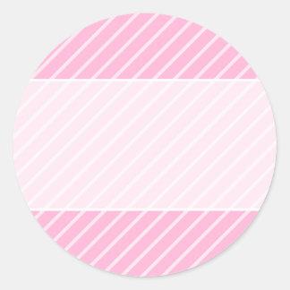 Candy Pink Diagonal Striped Pattern. Round Sticker