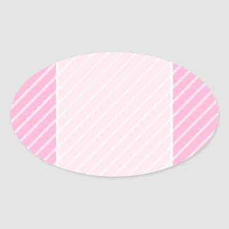 Candy Pink Diagonal Striped Pattern. Oval Stickers
