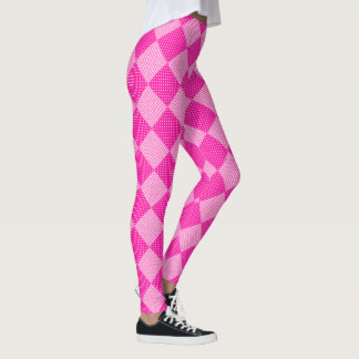 Candy Pink Faux Patchwork Pattern to Customize Leggings