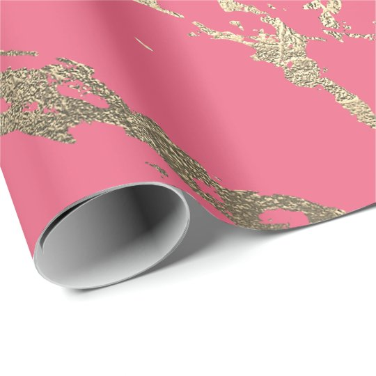 Candy Pink Foxier Gold Marble Shiny Glam Wrapping