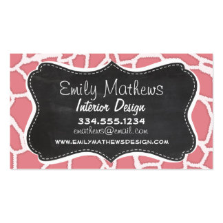 Candy Pink Giraffe Animal Print; Retro Chalk Business Cards