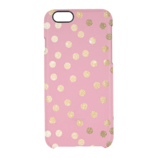 Candy Pink Gold Glitter Dots Clear Phone Case