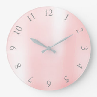 Candy Pink Metallic Silver Gray US UK Numbers Large Clock
