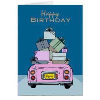 Candy Pink Nissan Figaro Car Happy Birthday Card