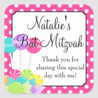 Candy Pink Polka Dot Bat Mitzvah Square Sticker