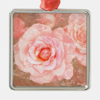 Candy roses Silver-Colored square decoration