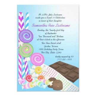 Candy Shoppe Sweet Sixteen Birthday 13 Cm X 18 Cm Invitation Card