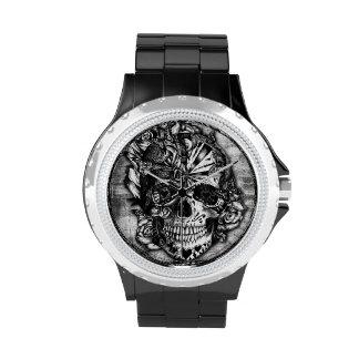 Candy skull, grunge sugar skull in black and grey. watch
