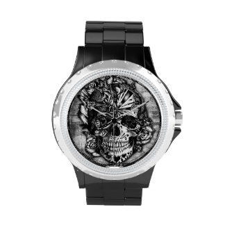 Candy skull, grunge sugar skull in black and grey. wrist watches
