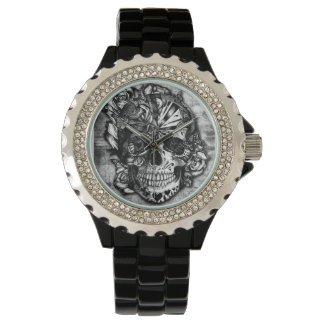 Candy skull, grunge sugar skull in black and grey. watch