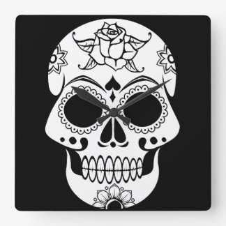 Candy Skull Square Wall Clock