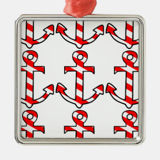 Candy Stripe Anchor Christmas Ornament