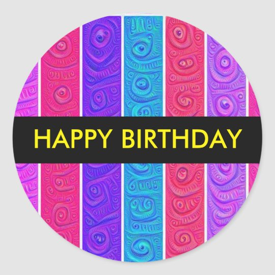 Candy Stripe Birthday Sticker