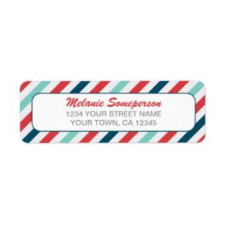 Candy Stripe Border Return Address Label