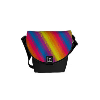 Candy Stripe Bright Rainbow Messenger Bags