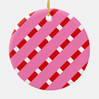Candy Stripe Round Ceramic Decoration