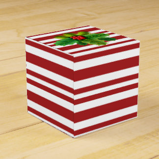 Candy stripe gift box with holly