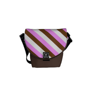 Candy stripe pink brown white messenger bag