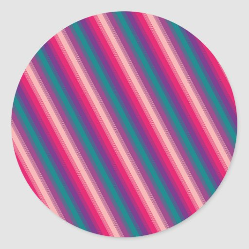 Candy Stripe Pink Purple Teal Round Stickers
