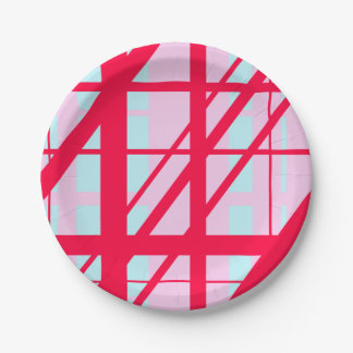 Candy Stripe Red Pink Blue Cute Summer Pattern Paper Plate