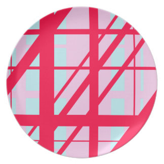 Candy Stripe Red Pink Blue Cute Summer Pattern Plate