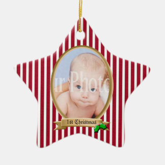 Candy Stripe Red White with Holly Photo Christmas Tree Ornaments