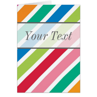 Candy Stripe Thick Diagonal - Edit the Text Greeting Card