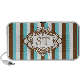 Candy stripe vintage monogram laptop speakers