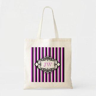 Candy stripe vintage monogram tote bag