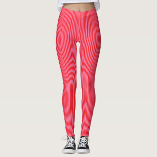 Candy Striped in Pink Red >Womens Leggings