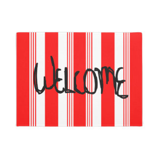 Candy striped Welcome Door Mat in cardinal red