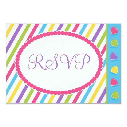 Candy Stripes Bat Mitzvah RSVP Card