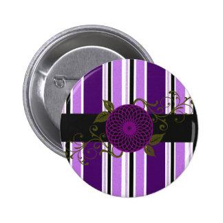 Candy Stripes & flower Purple 6 Cm Round Badge