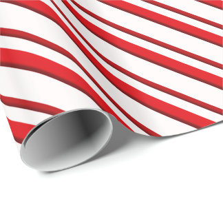 Candy Stripes, peppermint red & white Wrapping Paper