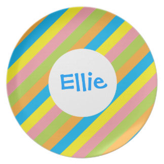 Candy Stripes Personalized Plate