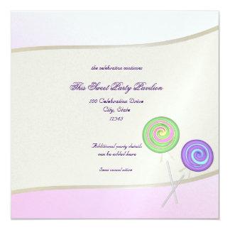 Candy Sweet Bat Mitzvah 13 Cm X 13 Cm Square Invitation Card