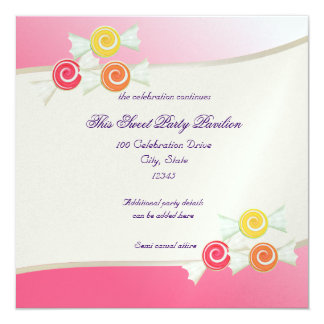 Candy Sweet Bat Mitzvah 5.25x5.25 Square Paper Invitation Card