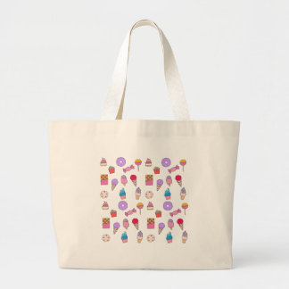 Candy, sweets and cake large tote bag