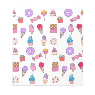 Candy, sweets and cake notepad