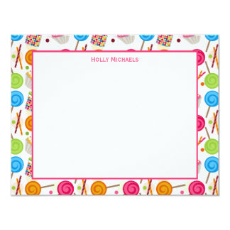 Candy & Sweets Pattern Flat Notecards 11 Cm X 14 Cm Invitation Card
