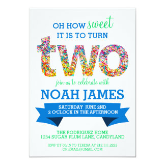 Candy Theme 2nd Birthday Party Sprinkles BLUE Card