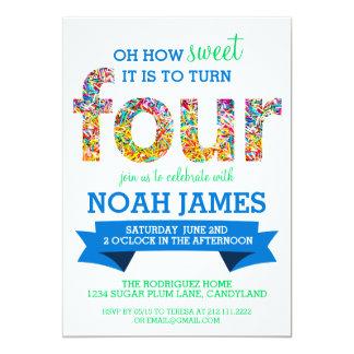 Candy Theme 4th Birthday Party Sprinkles BLUE 13 Cm X 18 Cm Invitation Card