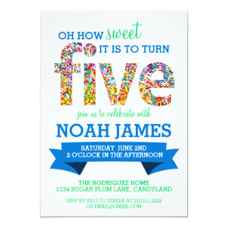 Candy Theme 5th Birthday Party Sprinkles BLUE 13 Cm X 18 Cm Invitation Card